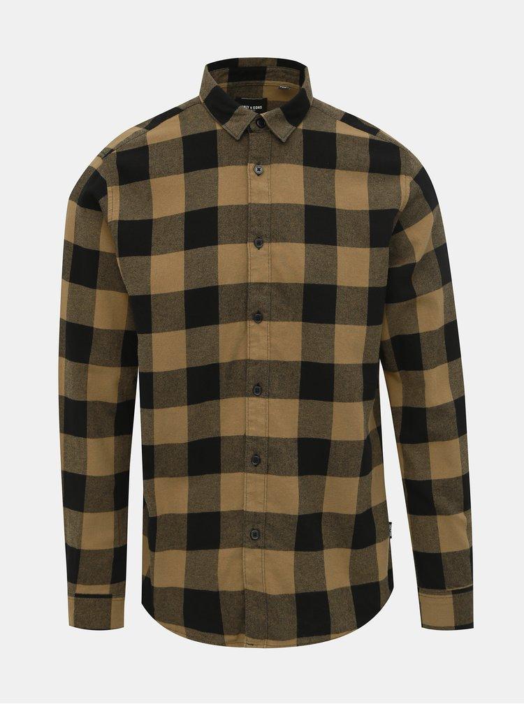 Čierno-hnedá kockovaná košeľa ONLY & SONS Gudmund