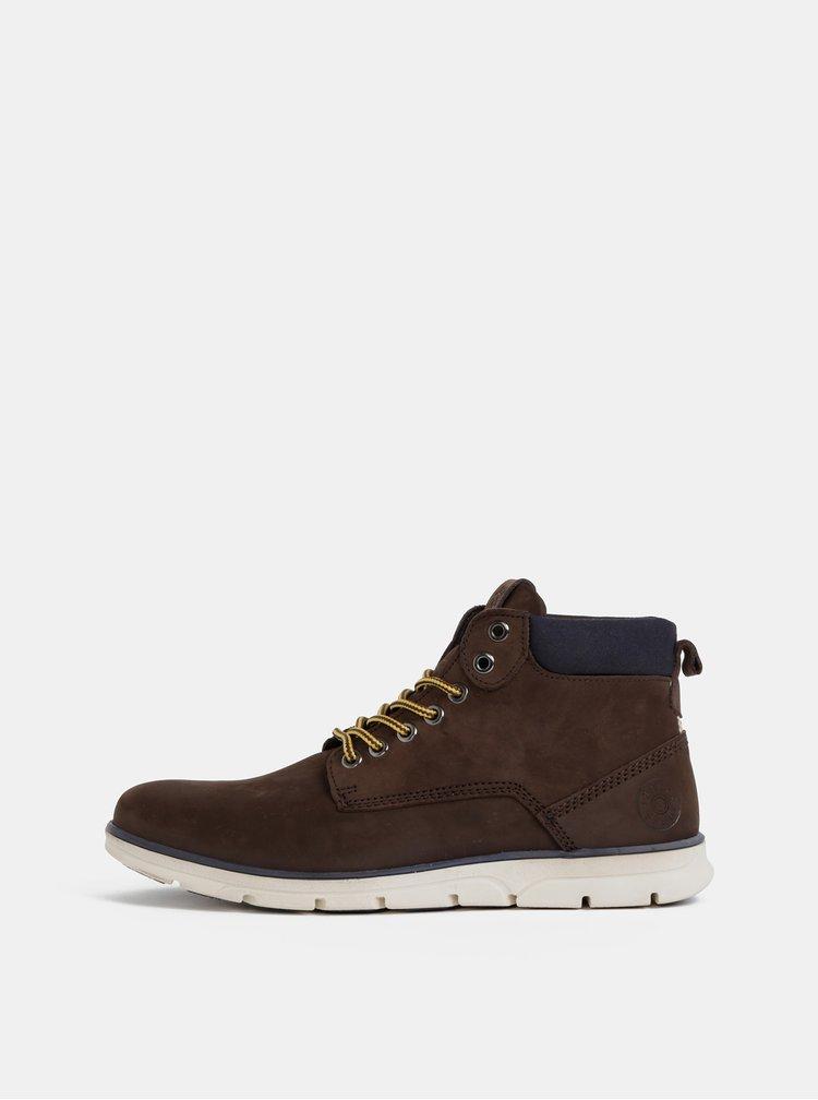 Tmavohnedé pánske kožené kotníkové topánky Jack & Jones Tubar