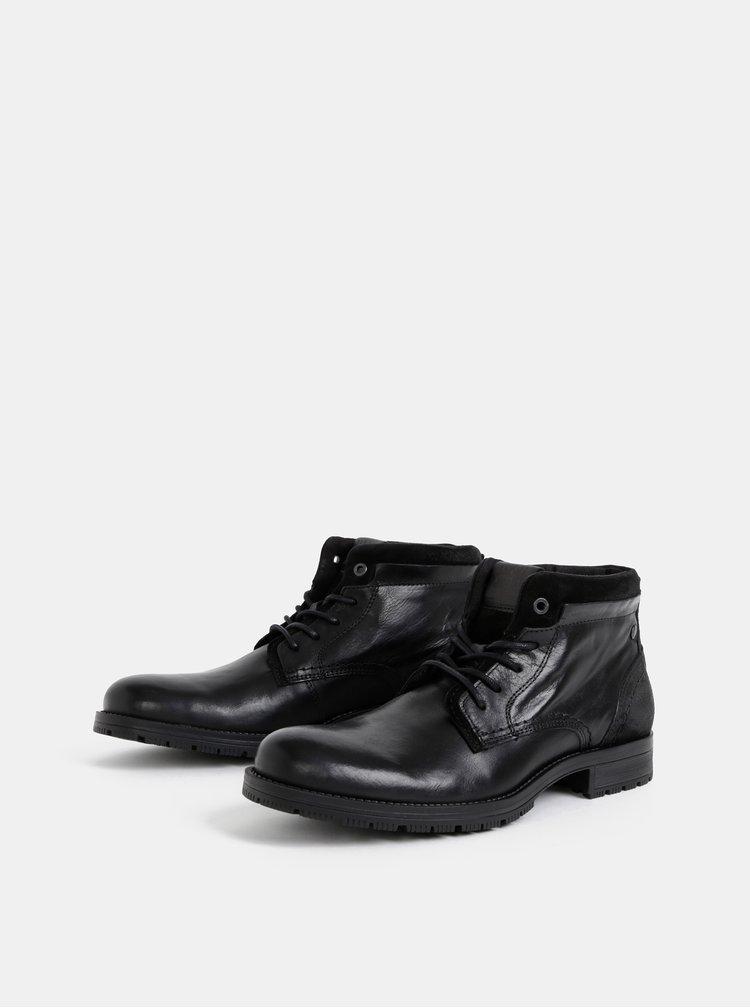 Čierne pánske kožené kotníkové topánky Jack & Jones Harry