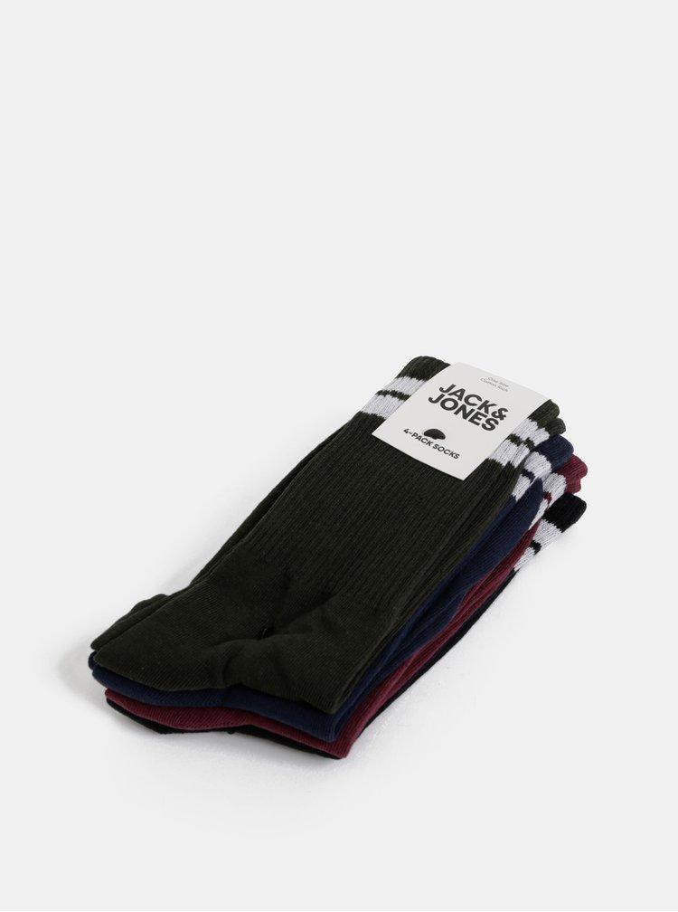 Sada čtyř párů ponožek v modré, zelené a vínové barvě Jack & Jones Bellamy