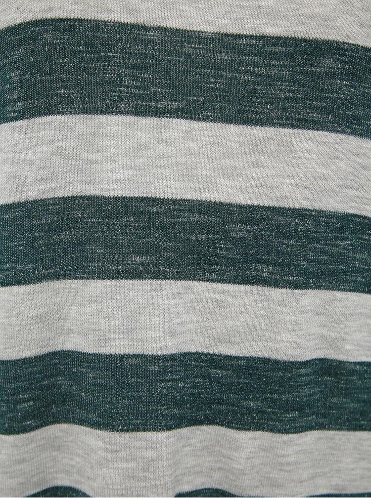 Šedo-zelený pruhovaný ľahký sveter VERO MODA Wide
