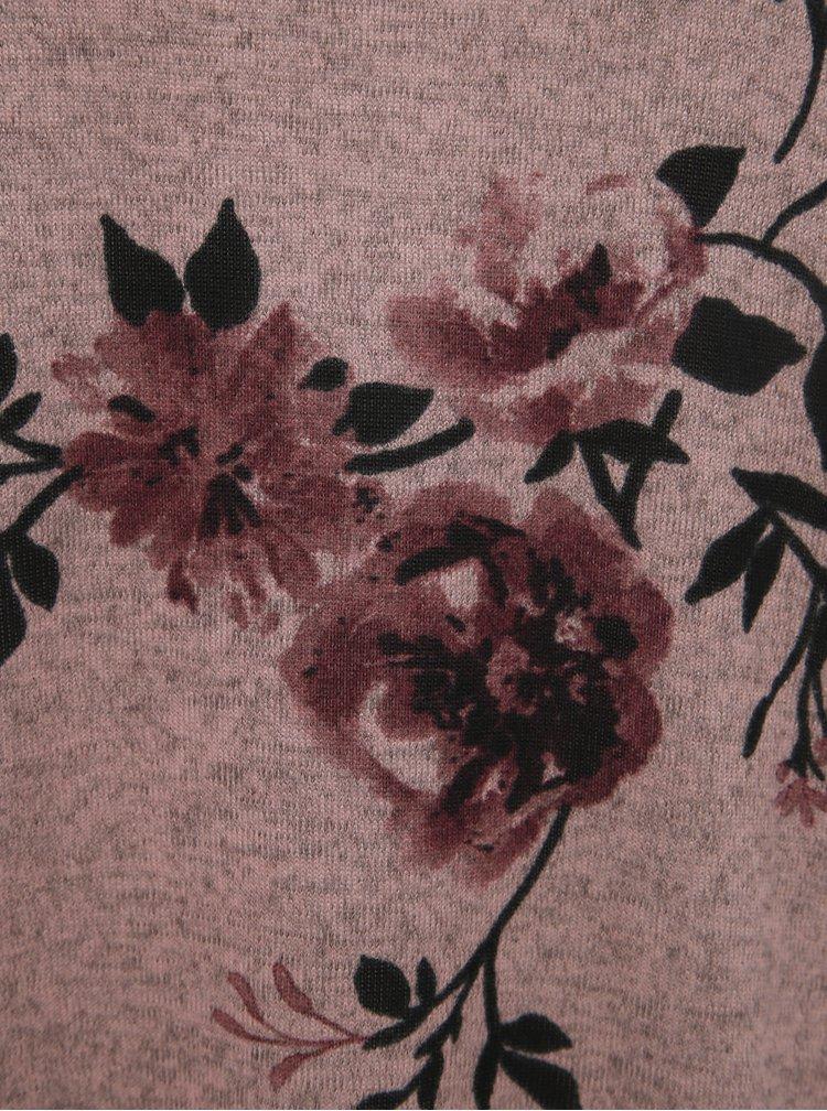 Rúžový kvetovaný voľný sveter ONLY Elcos