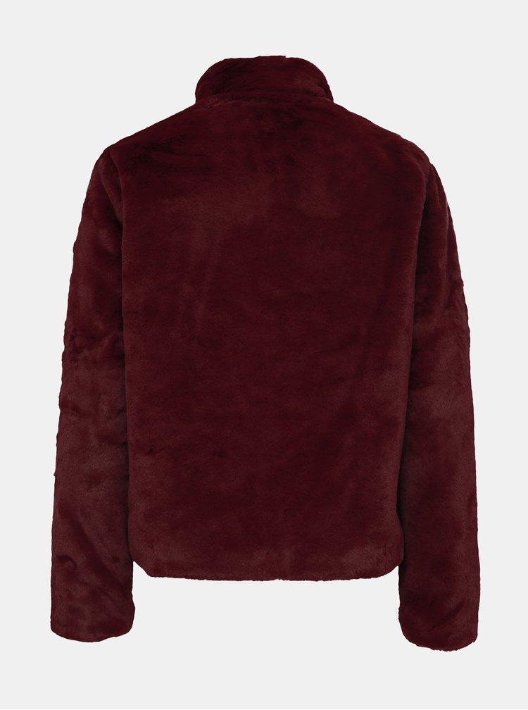 Vínový krátký kabát z umělé kožešiny ONLY Vida
