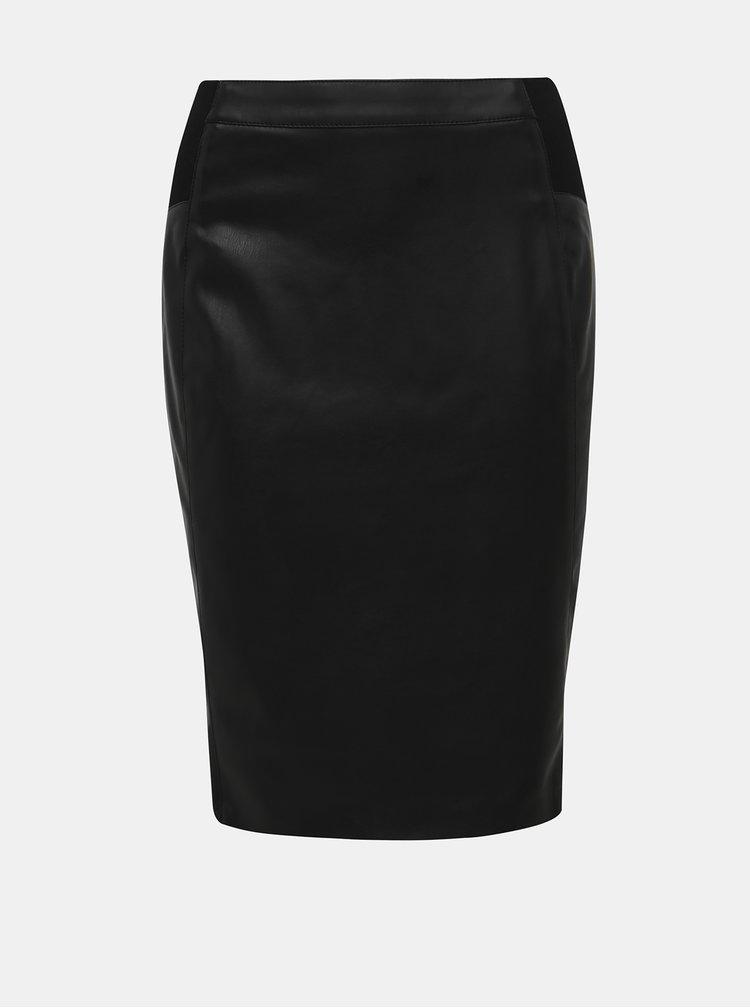 Černá koženková pouzdrová sukně VERO MODA Buttersia