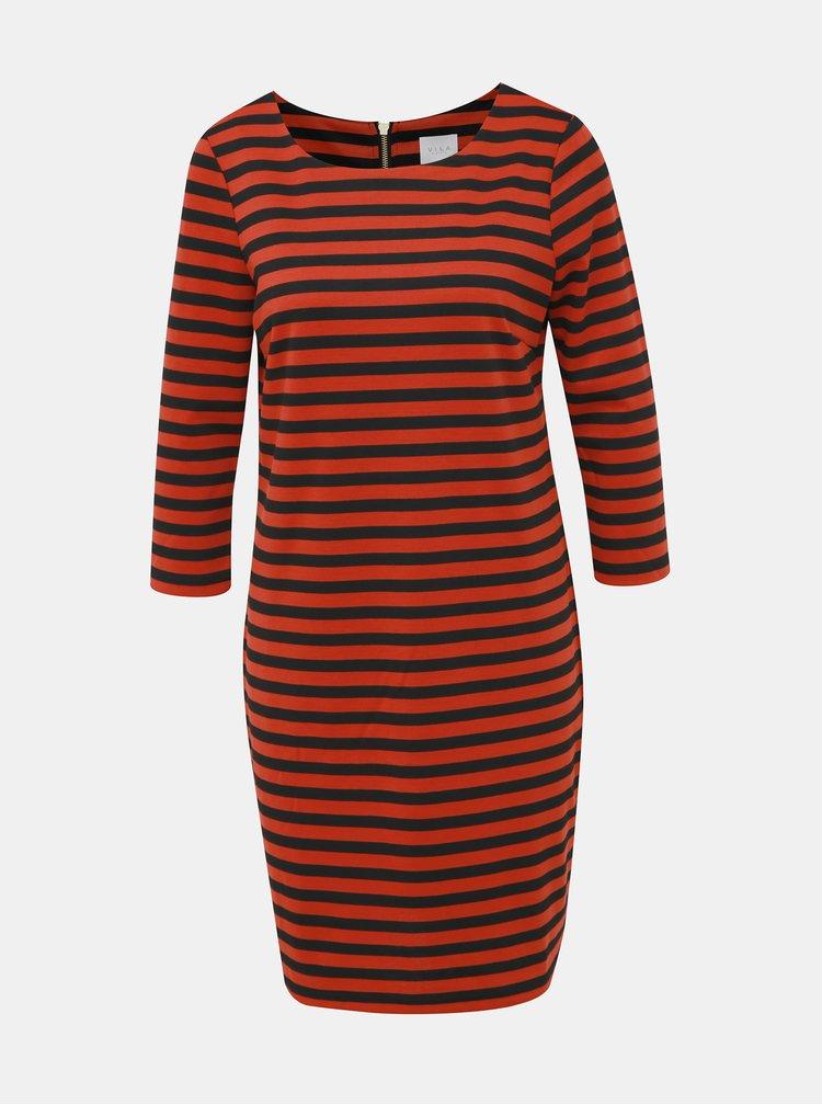 Červené pruhované basic šaty VILA Tinny