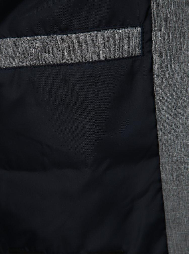 Šedá žíhaná voděodpudivá bunda Jack & Jones Alu