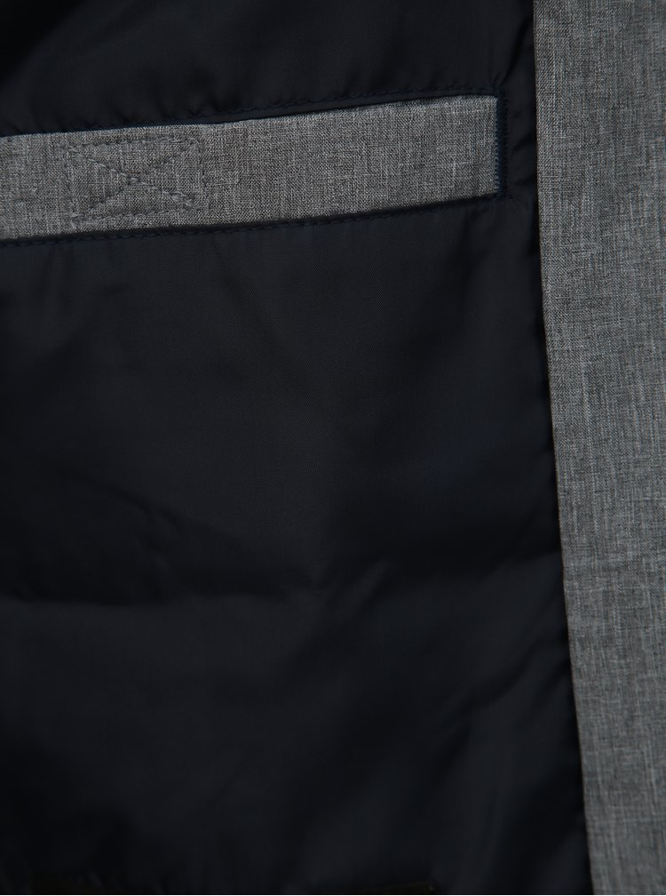 Šedá žíhaná vodeodpudivá bunda Jack & Jones Alu