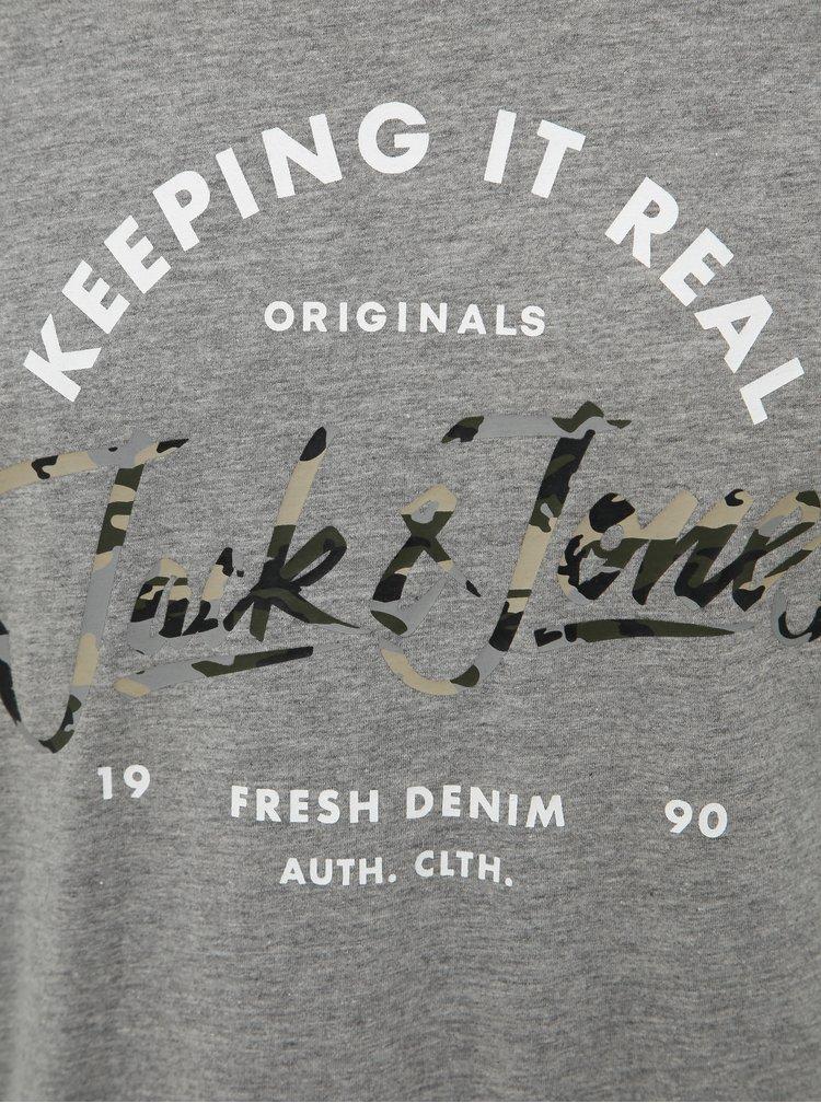 Šedé žíhané tričko Jack & Jones Camoclub