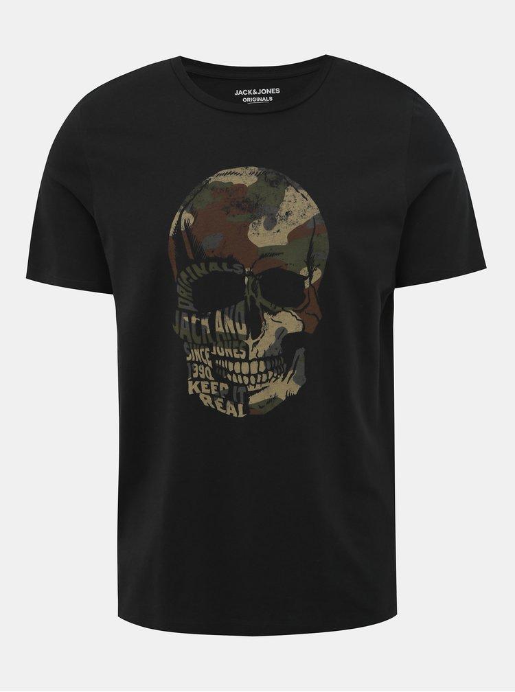 Černé slim fit tričko s potlačou Jack & Jones Cona