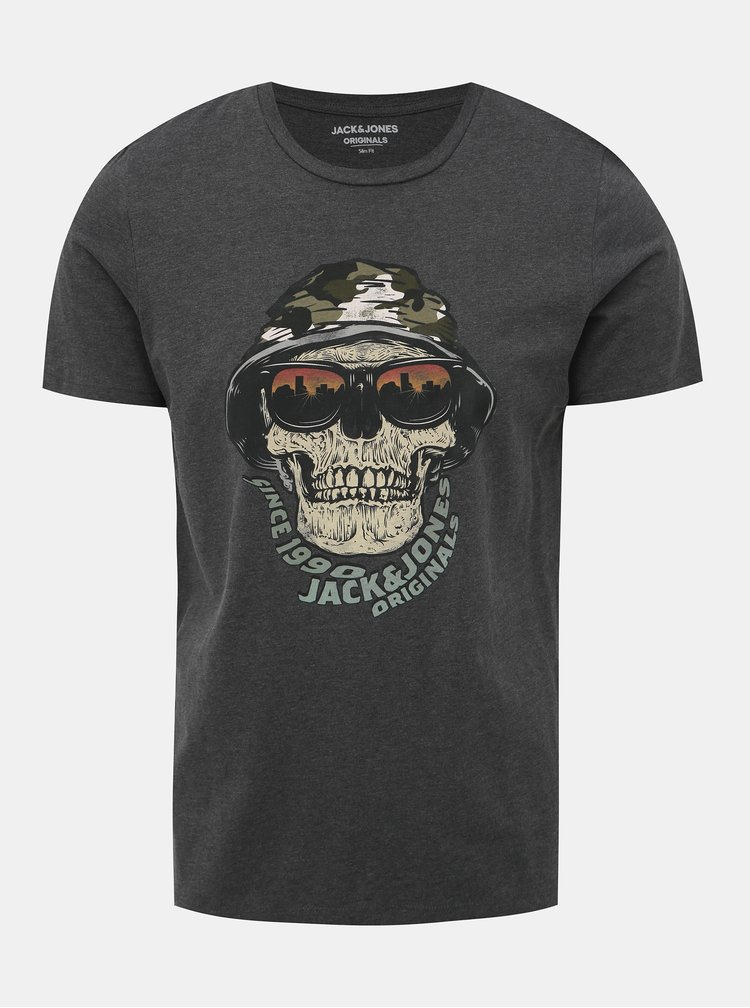 Tmavě šedé slim fit tričko s potiskem Jack & Jones Cona