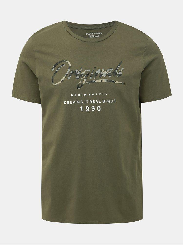 Kaki tričko Jack & Jones Camoclub