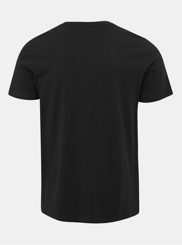 Čierne slim fit tričko s potlačou Jack & Jones Camoclub
