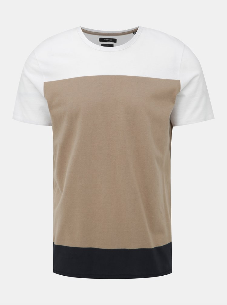 Bielo-hnedé slim fit tričko Jack & Jones Terrance