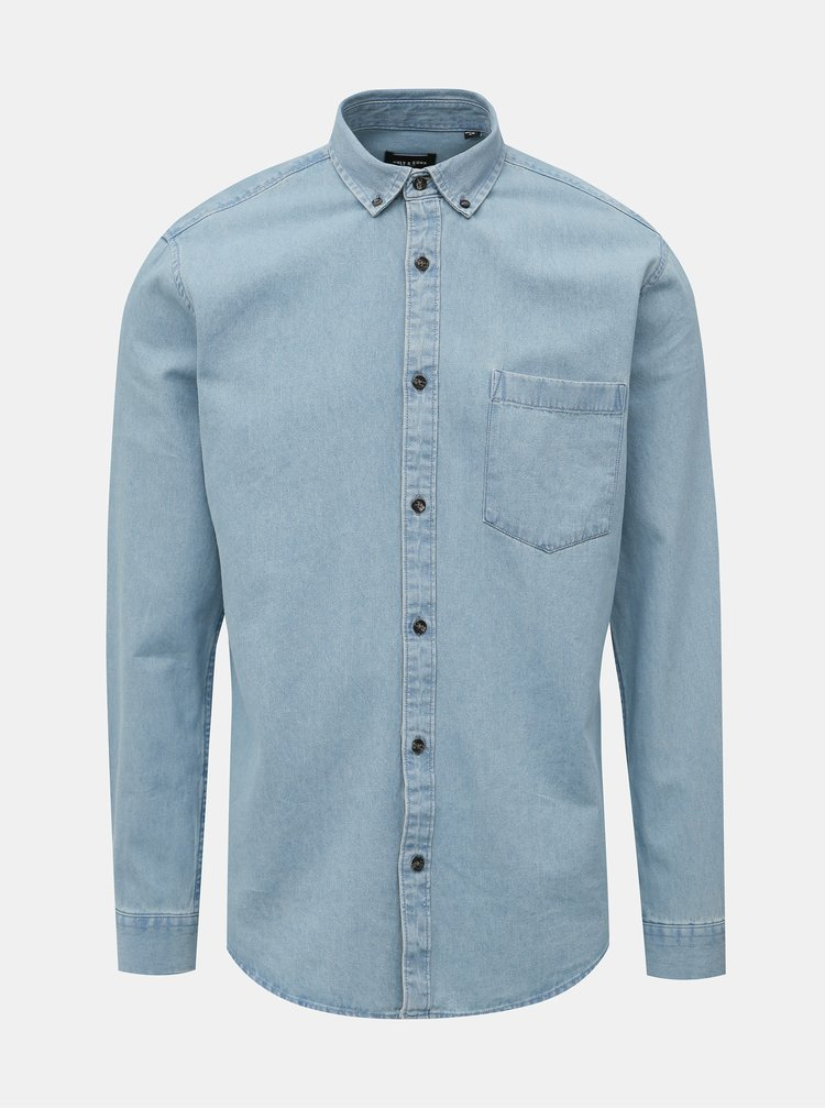 Světle modrá slim fit džínová košile ONLY & SONS Basic