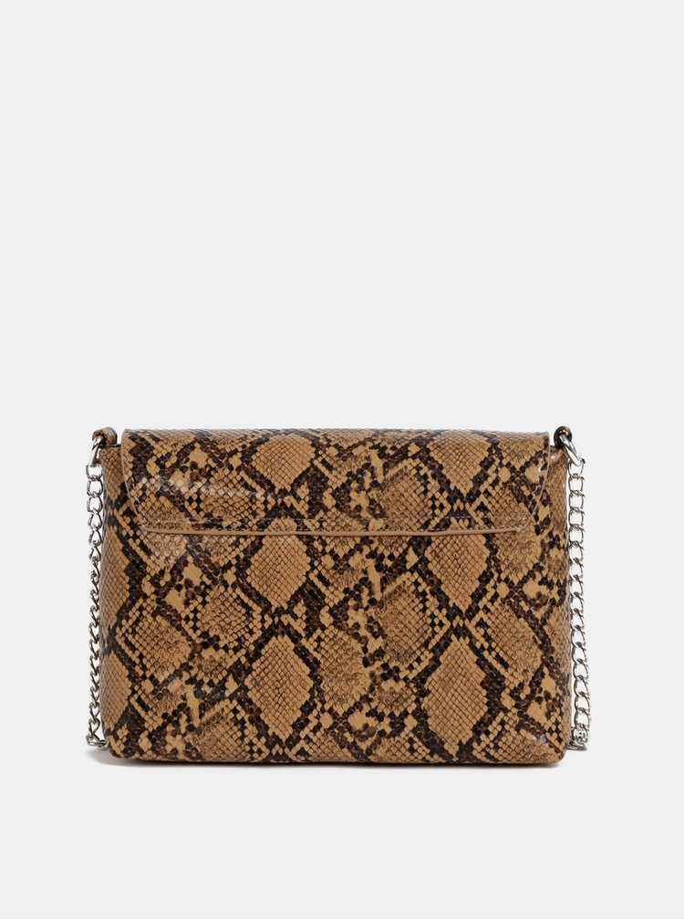 Hnedá crossbody kabelka s hadím vzorom Pieces Irina