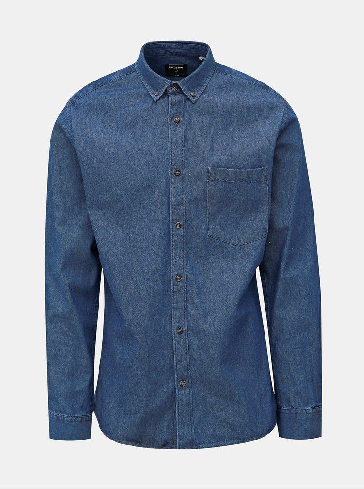 Modrá slim fit rifľová košeľa ONLY & SONS Basic