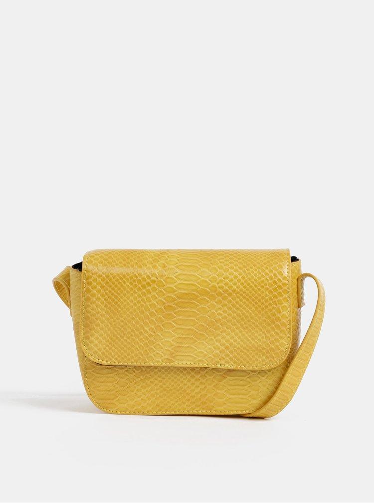 Žltá crossbody kabelka s hadím vzorom Pieces Iman