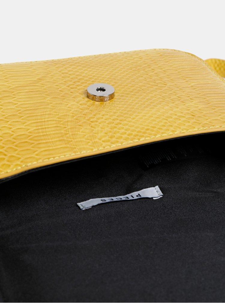 Žlutá crossbody kabelka s hadím vzorem Pieces Iman