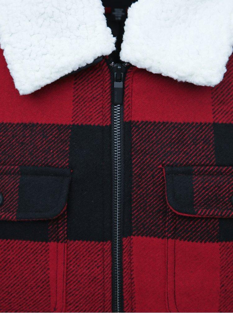 Červená kostkovaná bunda s příměsí vlny ONLY & SONS Ross