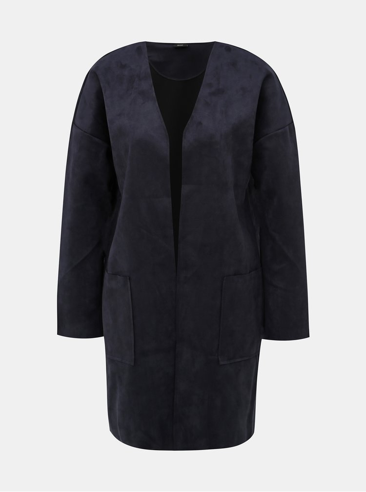 Tmavě modrý kabát v semišové úpravě ONLY Nicola
