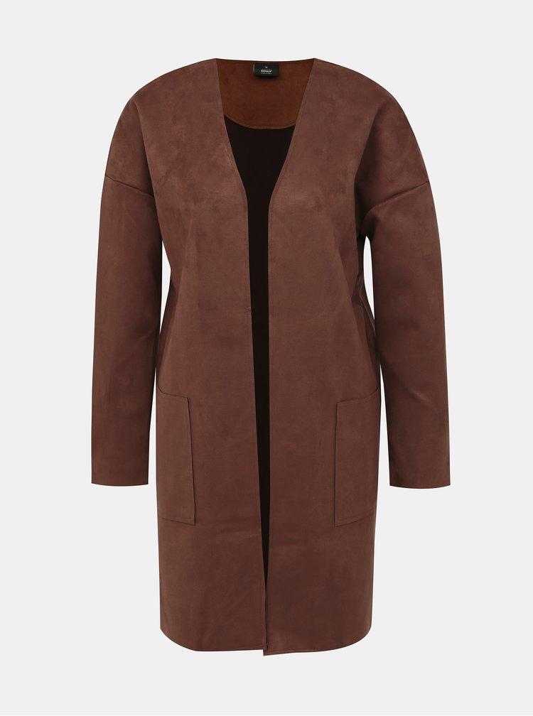 Hnedý kabát v semišovej úprave ONLY Nicola