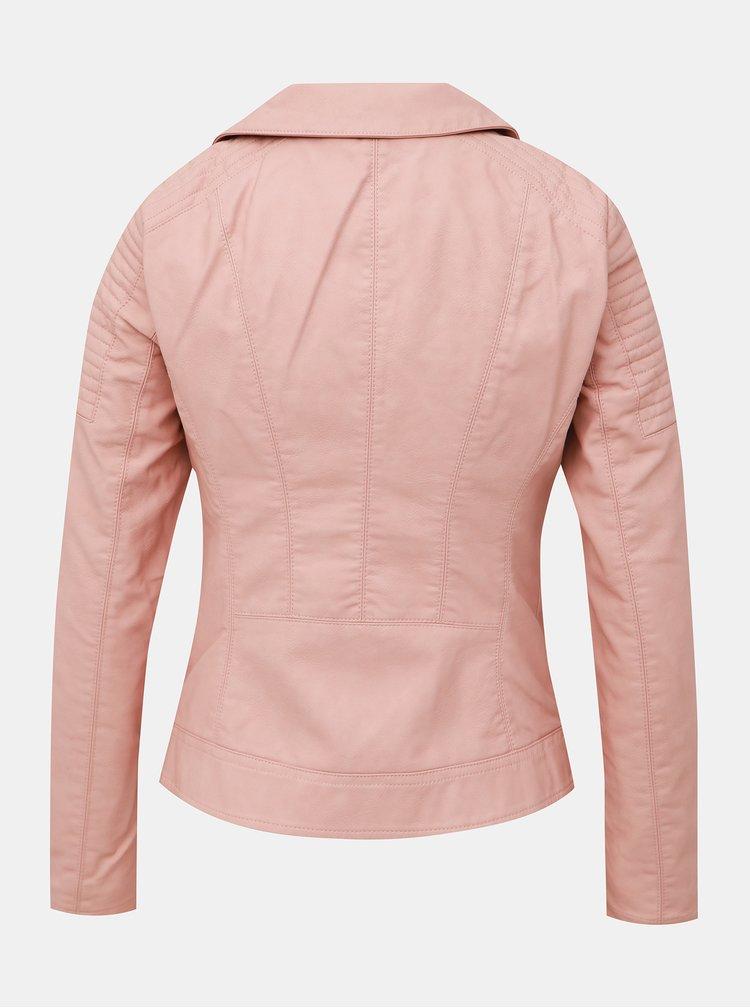 Svetloružová koženková bunda ONLY Megan