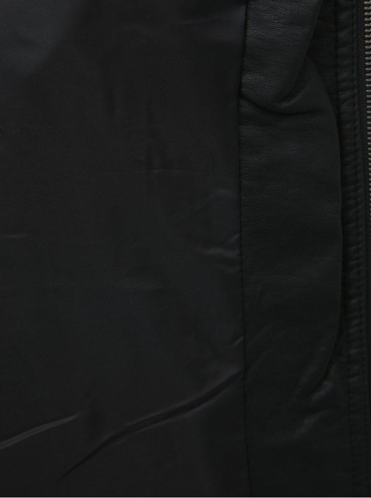 Čierna koženková bunda ONLY CARMAKOMA Okra