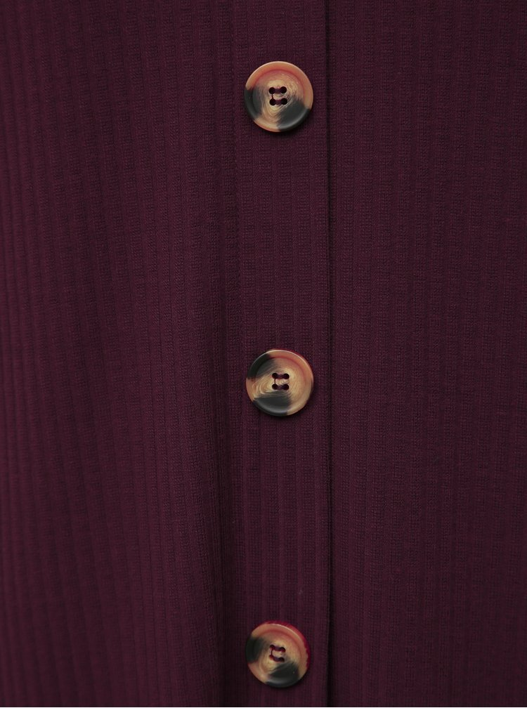 Vínové rebrované midi šaty ONLY CARMAKOMA Kam