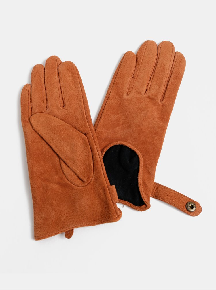 Hnedé semišové rukavice ONLY Biker