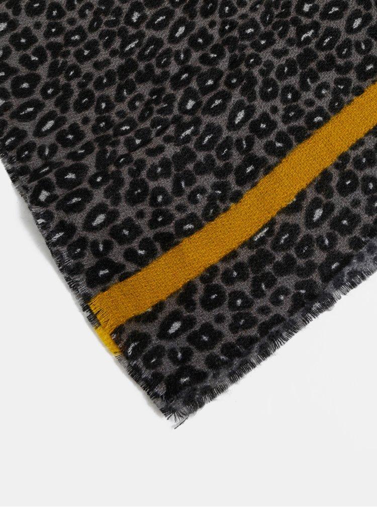 Šedo-černá šála s leopardím vzorem ONLY Didde