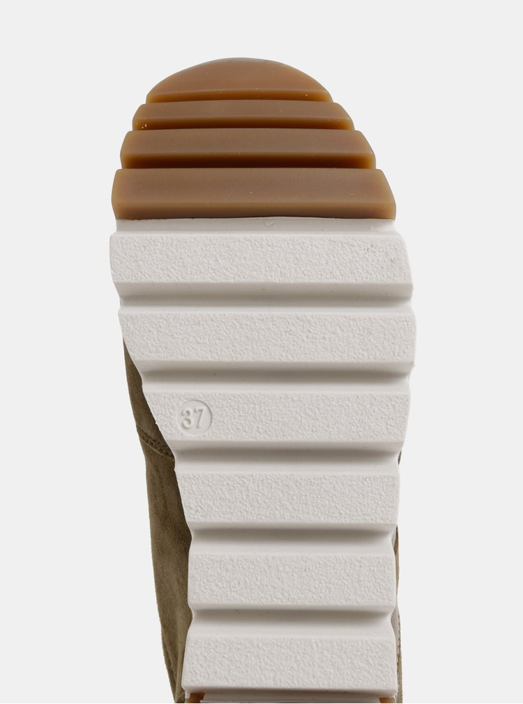 Khaki semišové tenisky na platformě Tamaris