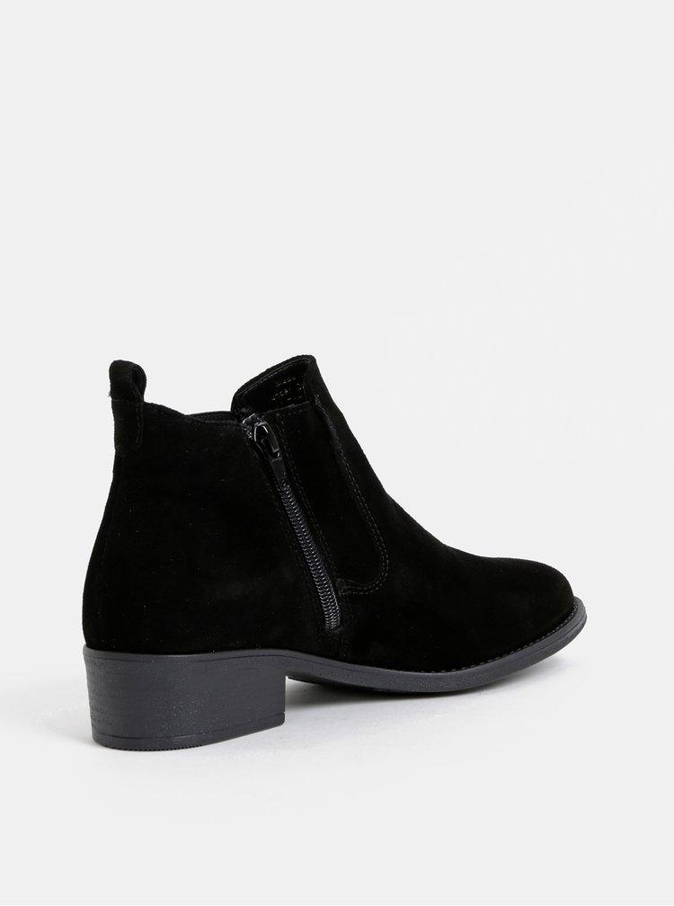 Černé semišové chelsea boty Tamaris