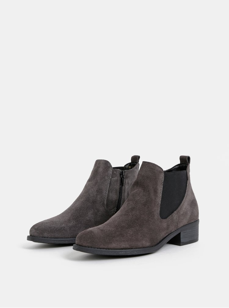 Šedé semišové chelsea topánky Tamaris