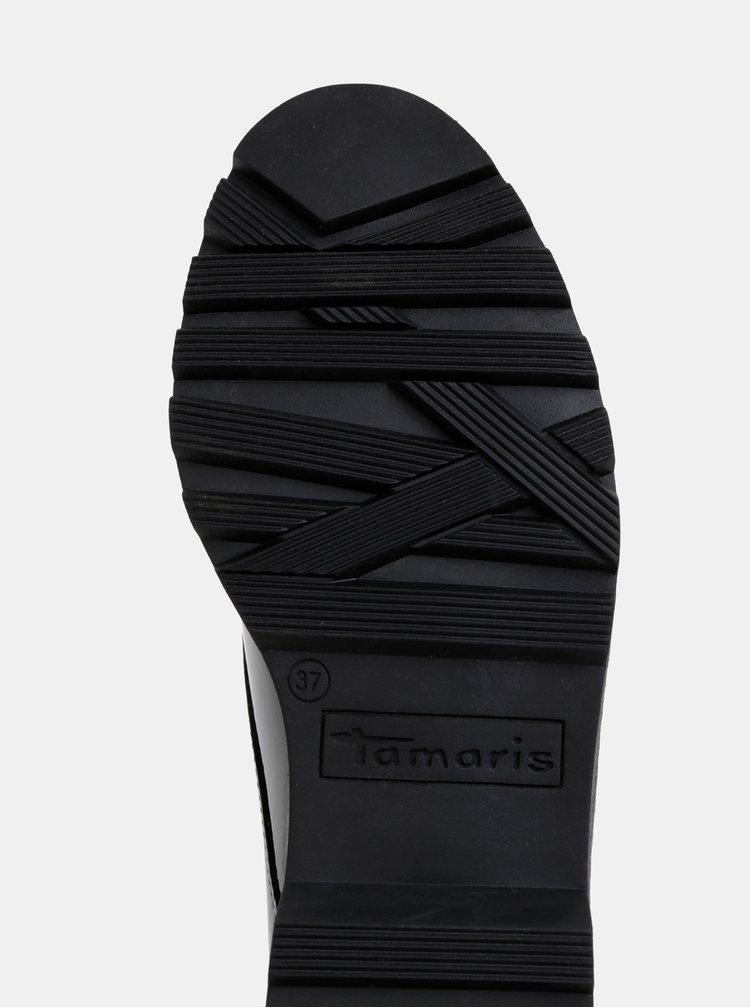 Černé lesklé polobotky Tamaris