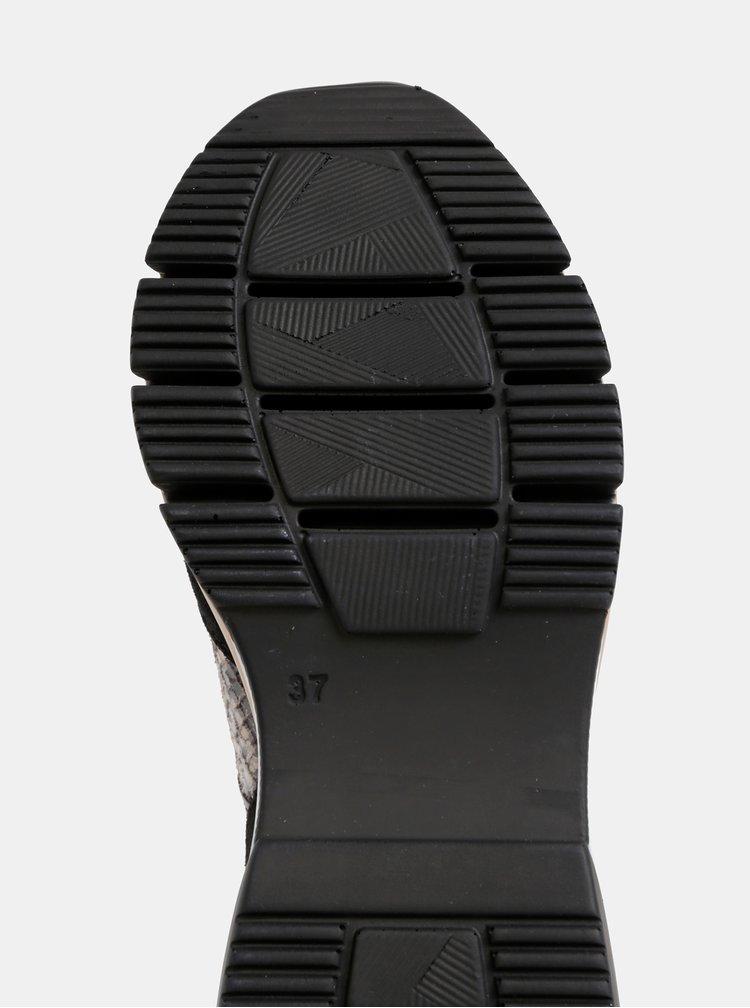 Béžovo-černé semišové tenisky s hadím vzorem Tamaris
