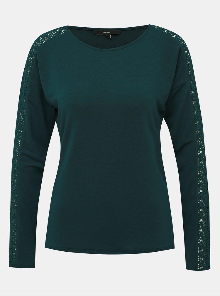 Zelené tričko s krajkou VERO MODA Celena