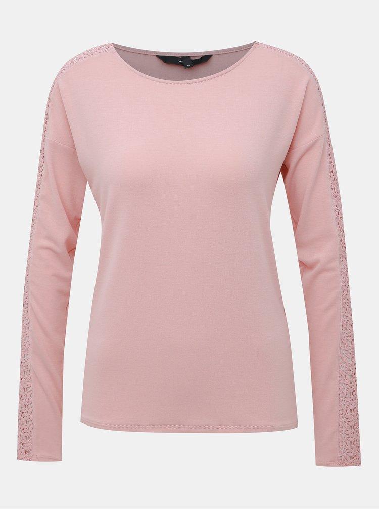 Růžové tričko s krajkou VERO MODA Celena