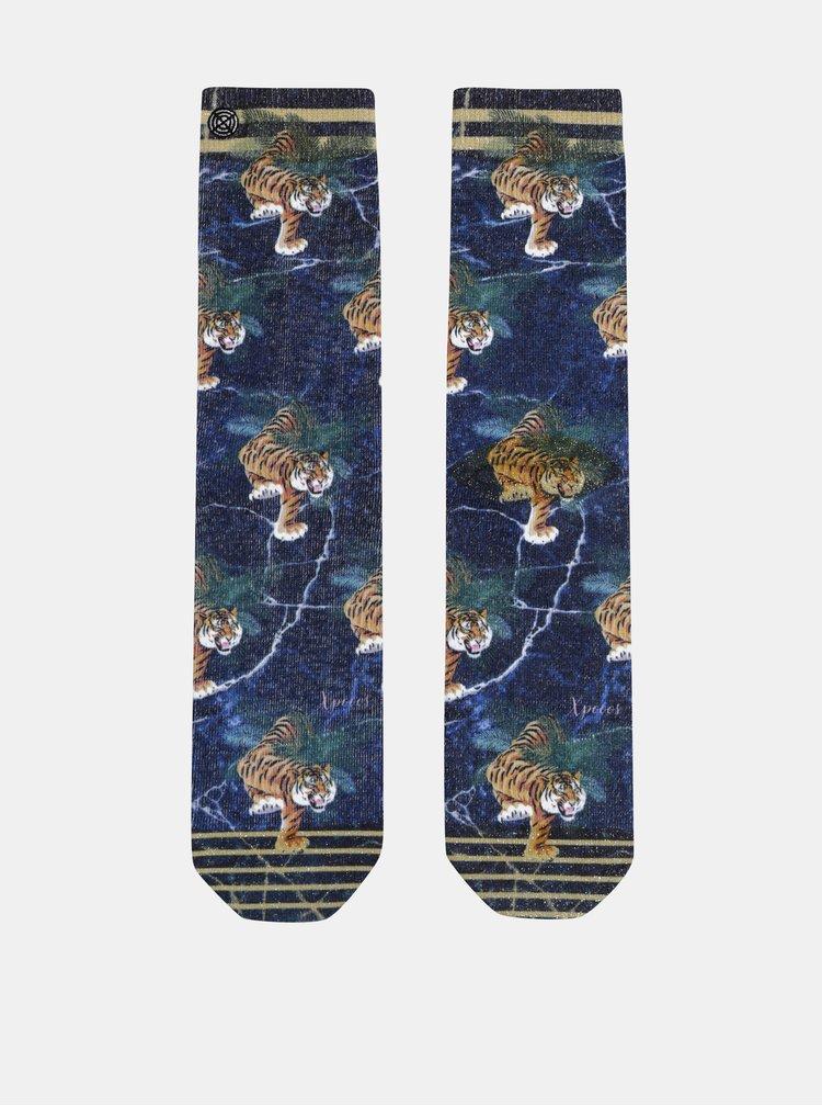 Modré dámské vzorované ponožky XPOOOS