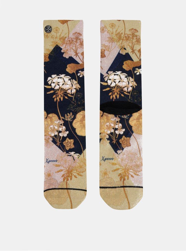 Květované dámské ponožky ve zlaté barvě XPOOOS