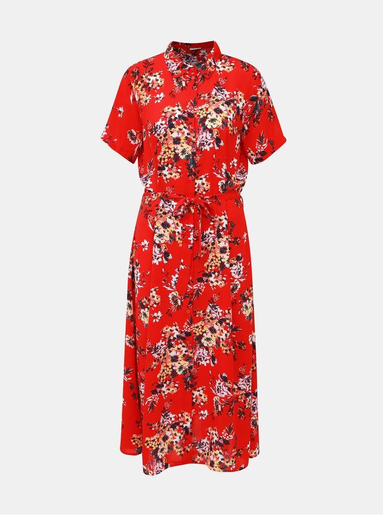 Červené kvetované košeľové midišaty Jacqueline de Yong Win