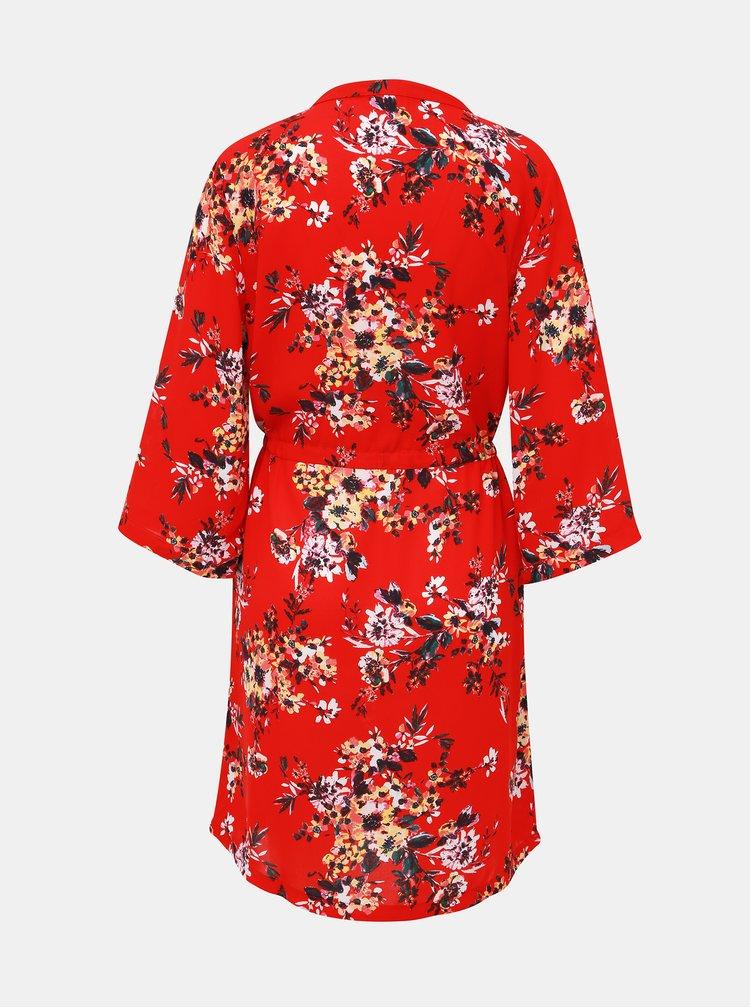 Červené květované šaty Jacqueline de Yong Win