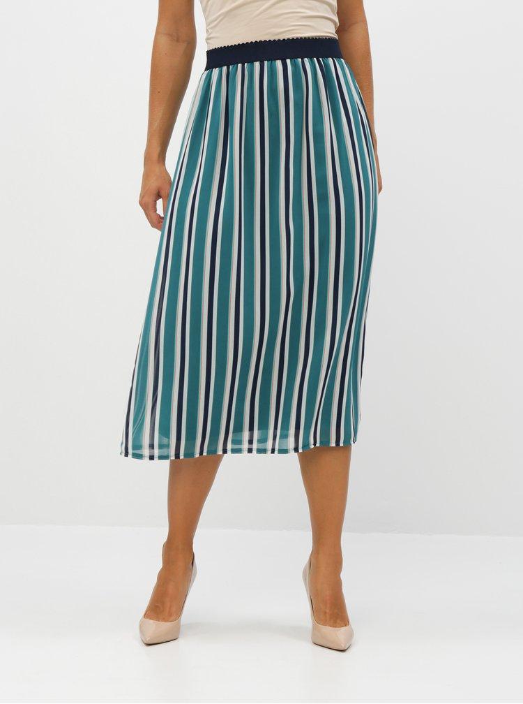 Zelená pruhovaná midi sukně Apricot