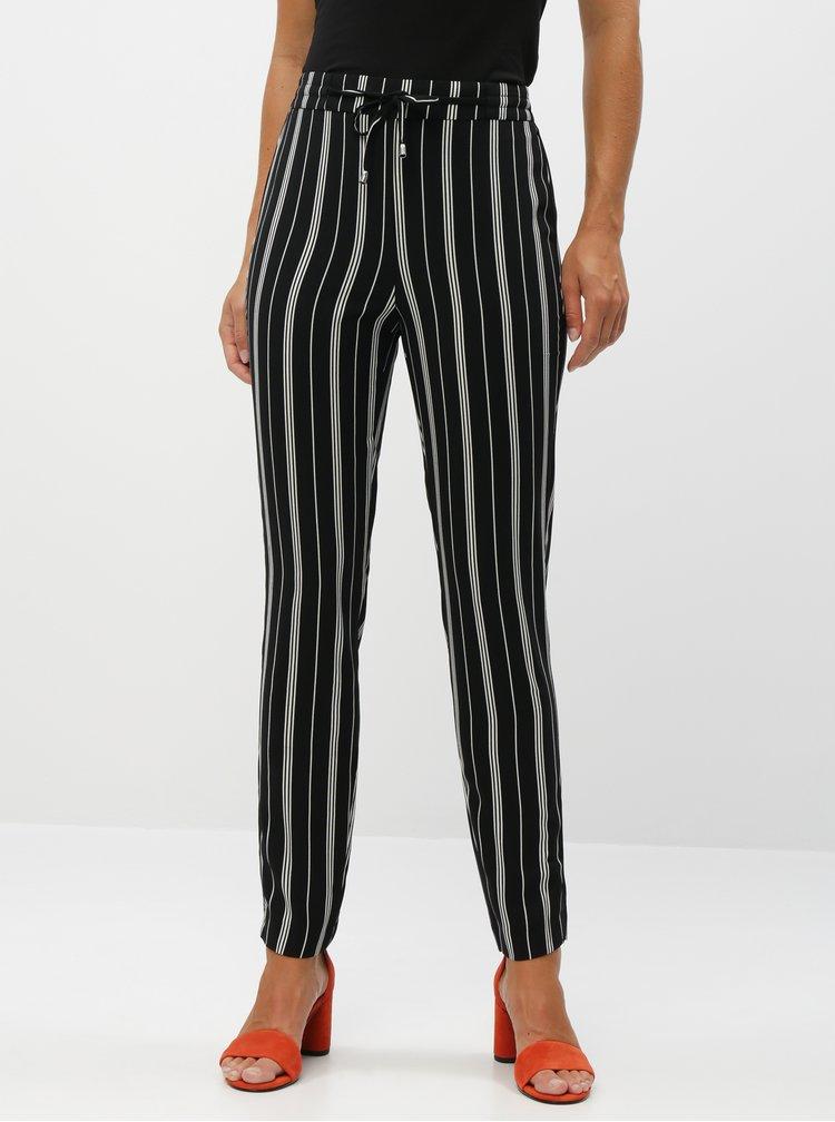 Černé dámské pruhované kalhoty M&Co