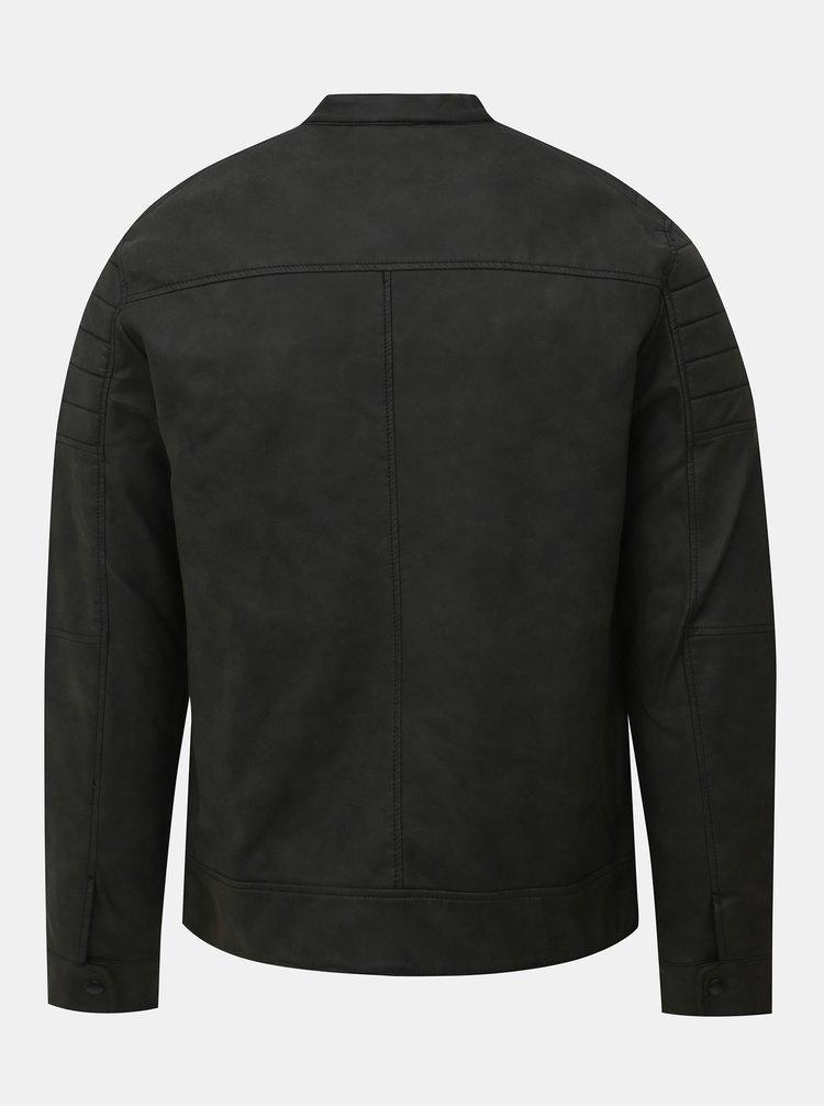 Tmavě šedá koženková bunda Jack & Jones Rask