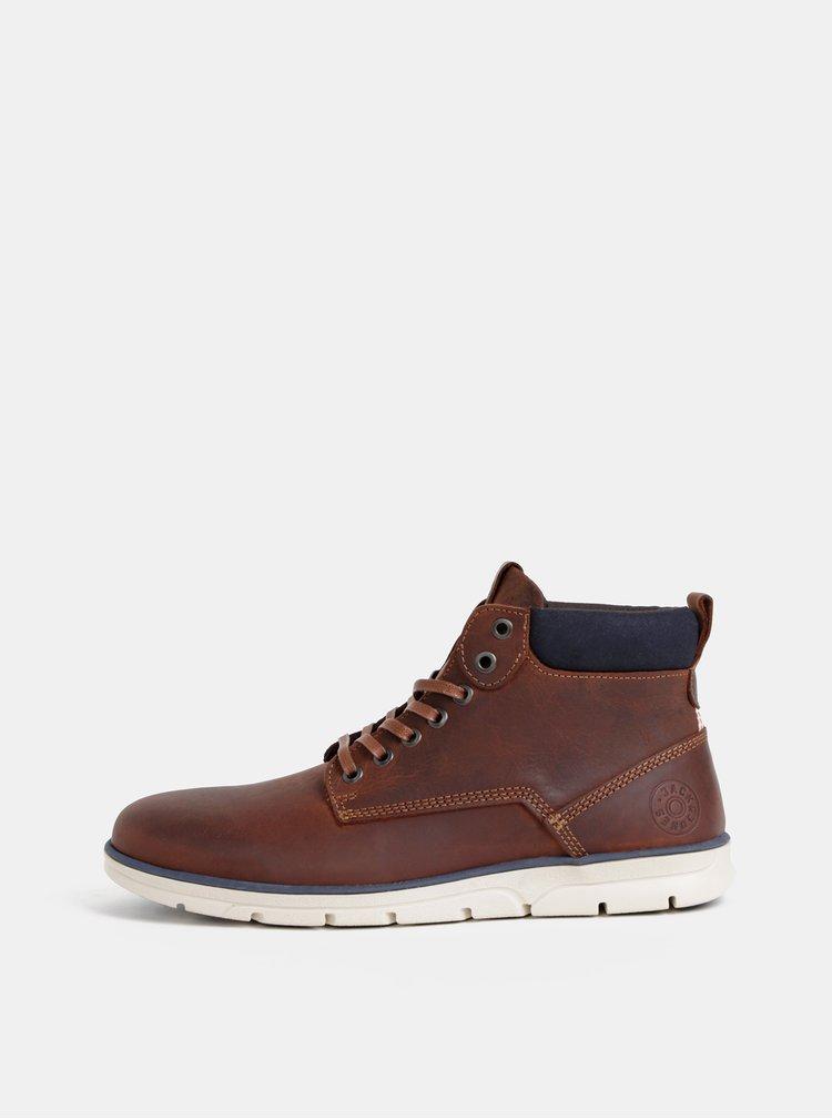 Hnedé pánske kožené kotníkové topánky Jack & Jones Tubar