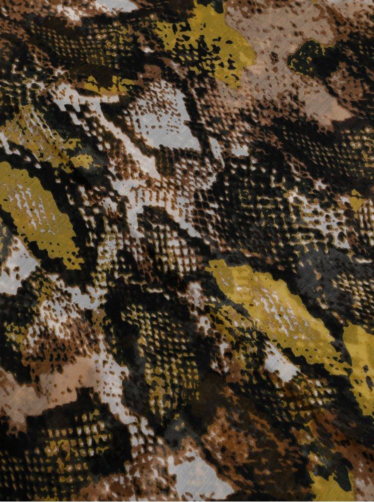 Hnědý šátek s hadím vzorem Pieces Hannah
