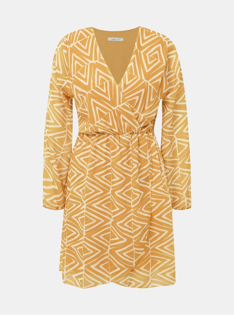 Hořčicové vzorované šaty Haily´s Lara