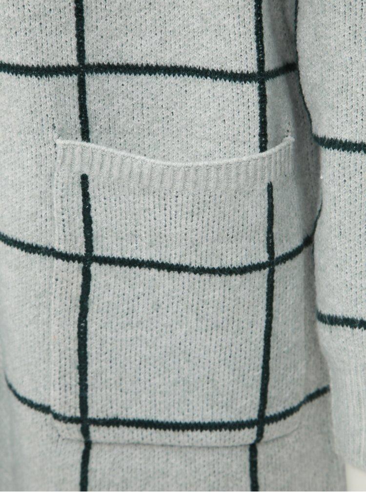 Zeleno-šedý kostkovaný kardigan VERO MODA Doffy