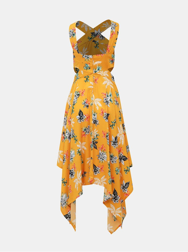 Žluté květované šaty s průstřihy TALLY WEiJL