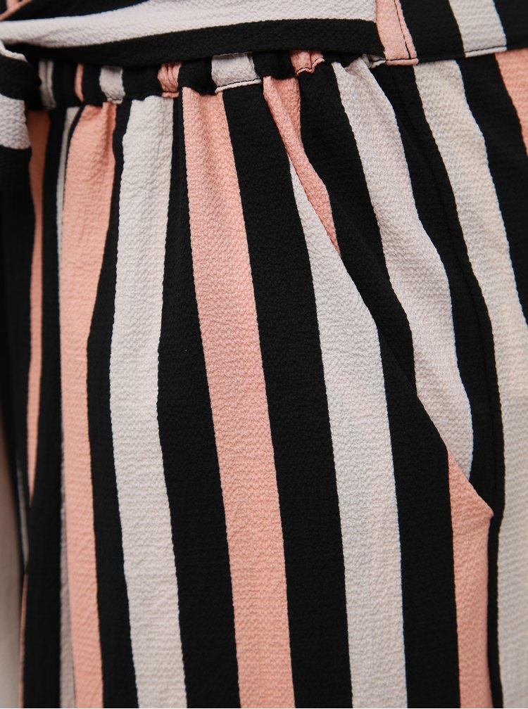 Čierno-ružové pruhované nohavice TALLY WEiJL